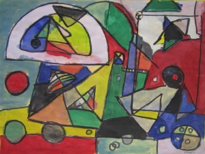 3rd grade- Kandinsky inspired composition- tempera paint