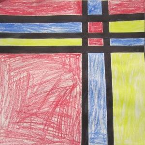 kindergarten- Mondrian inspired- crayon