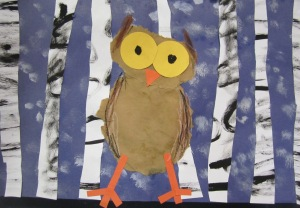 Kindergarten- Robert Frost poem inspired image...Cut/torn/painted paper