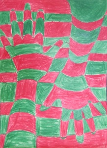 4th grade- op art inspired hand design- color pencil