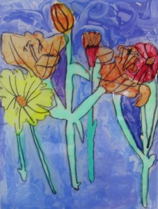 Flowers traced on plexi with sharpie painted with acrylic....(student teacher taught lesson)