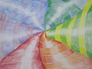 7th grade- Op art color wheel- color pencil