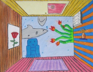 6th grade- surreal 1pt perspective bedrooms- color pencil