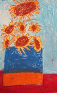 Kindergarten, Van Gogh inspired sunflowers- Oil pastel with water color