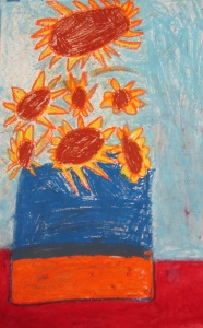 Kindergarten, Van Gogh inspired sunflowers- Oil pastel with water color