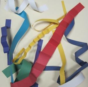 Kindergarten, paper roller coaster sculptures