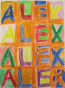 1st grade Pop Art, Jasper Johns inspired Name Design- crayon resist